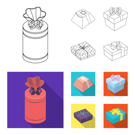 Gift box with bow, gift bag.Gifts and certificates set collection icons in outline,flat style vector symbol stock illustration . Illustration