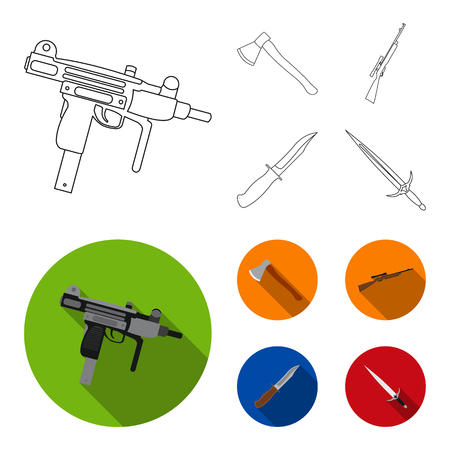Ax, automatic, sniper rifle, combat knife. Weapons set collection icons in outline,flat style vector symbol stock illustration web. Illustration