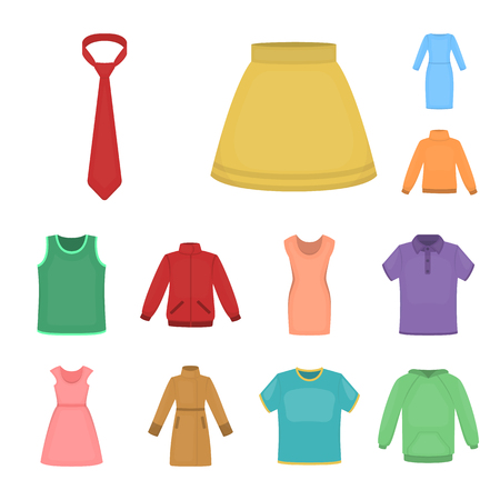 Different kinds of clothes cartoon icons in set collection for design. Clothes and style vector symbol stock  illustration.