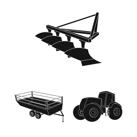 Agricultural machinery black icons in set collection for design. Equipment and device vector symbol stock web illustration. Illustration