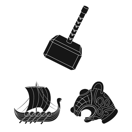 Vikings and attributes black icons in set collection for design.Old Norse Warrior vector symbol stock web illustration. Illustration