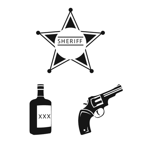 Attributes of the wild west black icons in set collection for design.Texas and America vector symbol stock web illustration.