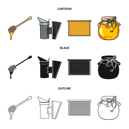 A frame with honeycombs, a ladle of honey, a fumigator from bees, a jar of honey.Apiary set collection icons in cartoon,black,outline style vector symbol stock illustration web.