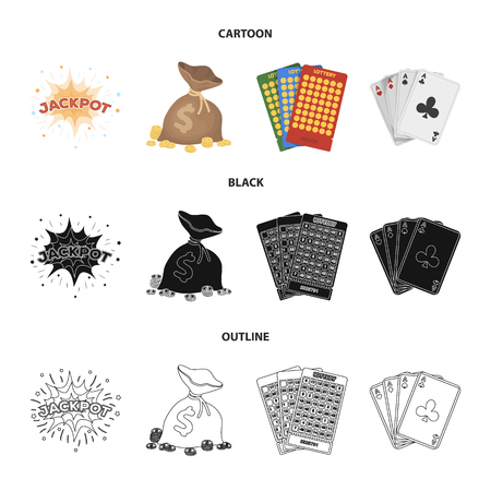 Jack sweat, a bag with money won, cards for playing Bingo, playing cards. Casino and gambling set collection icons in cartoon,black,outline style vector symbol stock illustration web.