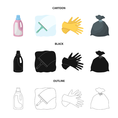 Gel for washing in a pink bottle, yellow gloves for cleaning, a brush for glass, a black bag for garbage or waste. Cleaning set collection icons in cartoon,black,outline style vector symbol stock illustration web.