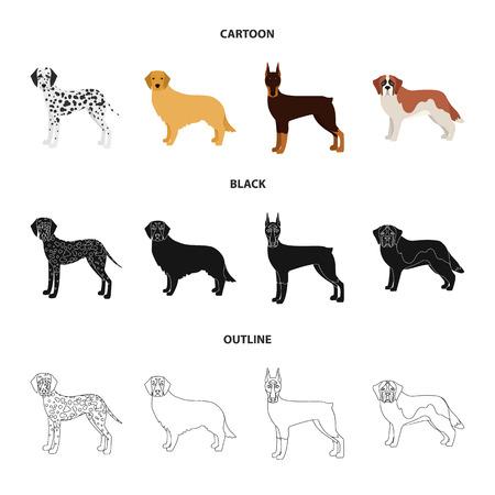 Razas de perros de dibujos animados, negro, iconos de contorno de colección set de diseño.Perro mascota vector símbolo stock web ilustración.