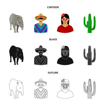 Tapir Mexican animal, a Mexican in national clothes in a poncho, a woman with a flower, a cactus. Mexico country set collection icons in cartoon,black,outline style vector symbol stock illustration web.