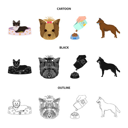 A dog in a lounger , a muzzle of a pet, a bowl with a feed, a sheepdog with a ball in his teeth. Pet ,dog care set collection icons in cartoon,black,outline style vector symbol stock illustration web.