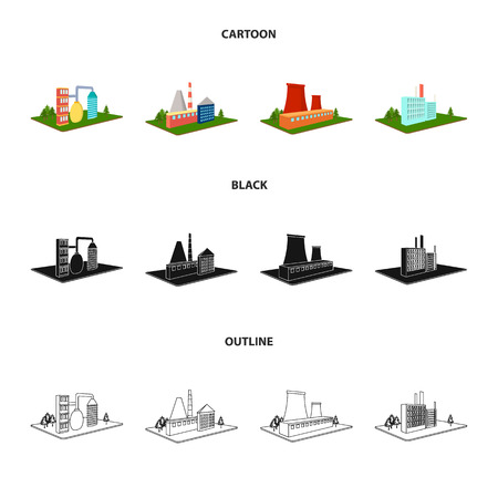 Processing factory,metallurgical plant. Factory and industry set collection icons in cartoon,black,outline style isometric vector symbol stock illustration web. Иллюстрация