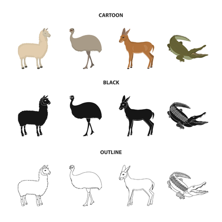 lama, ostrich emu, young antelope, animal crocodile. Wild animal, bird, reptile set collection icons in cartoon,black,outline style vector symbol stock illustration web.