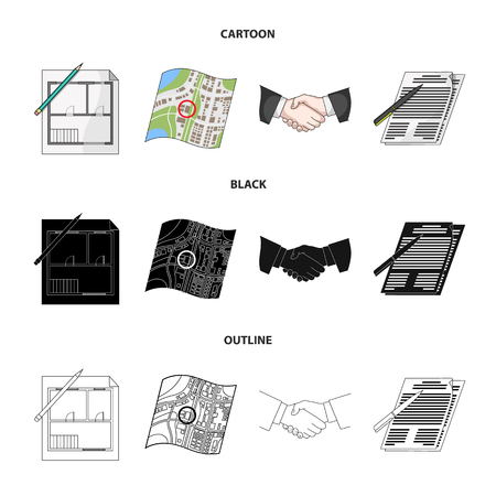 House plan, documents for signing, handshake, terrain plan. set collection icons in cartoon,black,outline style vector symbol stock illustration web. Ilustração