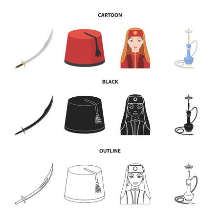 Turkish fez, yatogan, turkish, hookah.Turkey set collection icons in cartoon,black,outline style vector symbol stock illustration web.