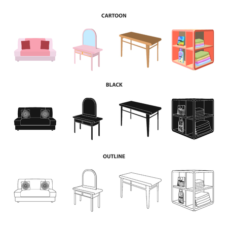 Soft sofa, toilet make-up table, dining table, shelving for laundry and detergent. Furniture and interior set collection icons in cartoon,black,outline style isometric vector symbol stock illustration web.