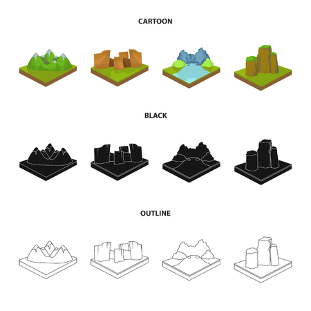 Mountains, rocks and landscape. Relief and mountains set collection icons in cartoon,black,outline style isometric vector symbol stock illustration web.