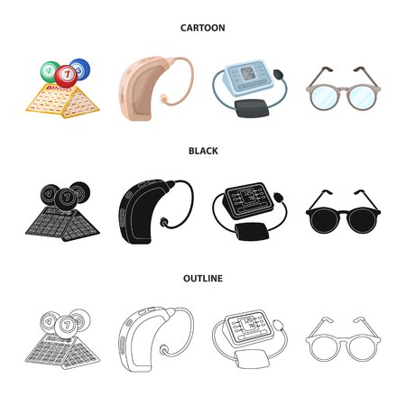 Lottery, hearing aid, tonometer, glasses.Old age set collection icons in cartoon,black,outline style vector symbol stock illustration web.