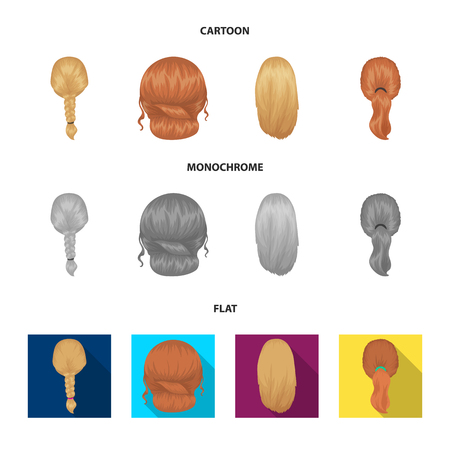 Light braid, fish tail and other types of hairstyles. Back hairstyle set collection icons in cartoon,flat,monochrome style vector symbol stock illustration web.