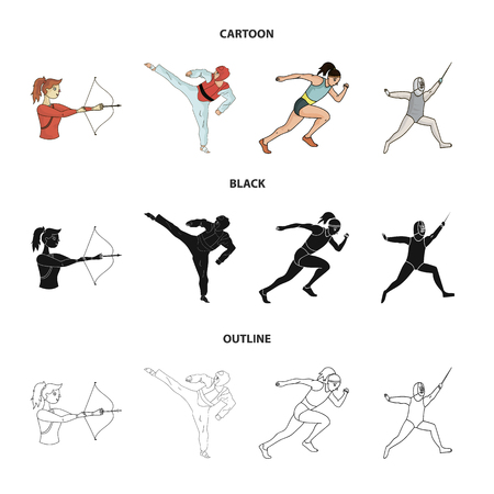 Archery, karate, running, fencing. sport set collection icons in cartoon,black,outline style vector symbol stock illustration web.