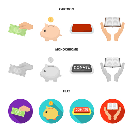 Hand with money for poshestvovaniya, a piggy bank for charity, a button with an inscription, a book for the blind in their hands. Charity and donation set collection icons in cartoon,flat,monochrome style vector symbol stock illustration web. Illustration