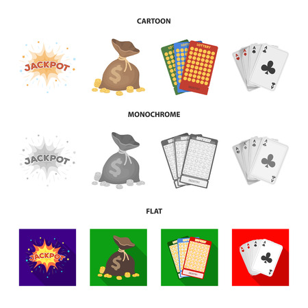 Jack sweat, a bag with money won, cards for playing Bingo, playing cards. Casino and gambling set collection icons in cartoon,flat,monochrome style vector symbol stock illustration web.