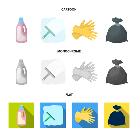 Gel for washing in a pink bottle, yellow gloves for cleaning, a brush for glass, a black bag for garbage or waste. Cleaning set collection icons in cartoon,flat,monochrome style vector symbol stock illustration web.