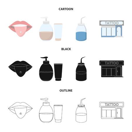 Piercing dans la langue, gel, sallon. Tatouage mis icônes de la collection en dessin animé, noir, contour style vecteur symbole stock illustration web.
