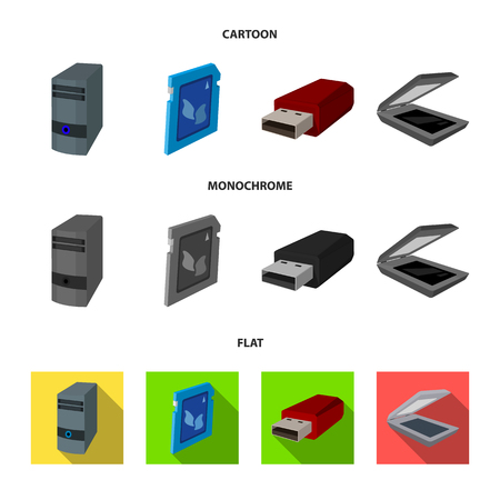 A system unit, a flash drive, a scanner and a SD card. Personal computer set collection icons in cartoon,flat,monochrome style vector symbol stock illustration web.