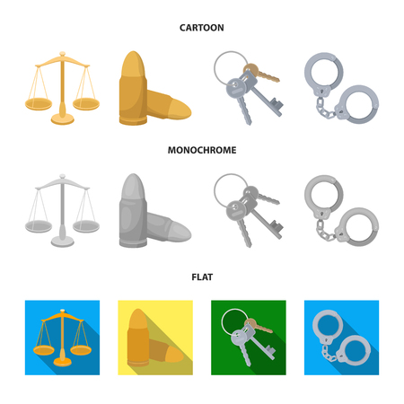 Scales of justice, cartridges, a bunch of keys, handcuffs.Prison set collection icons in cartoon,flat,monochrome style vector symbol stock illustration web. Illustration