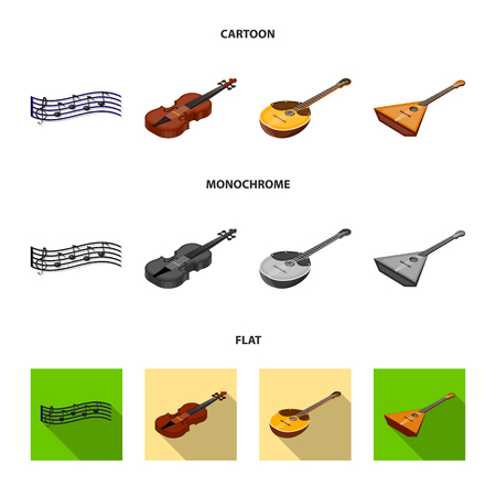Musical instrument cartoon,flat,monochrome icons in set collection for design. String and Wind instrument isometric vector symbol stock web illustration.