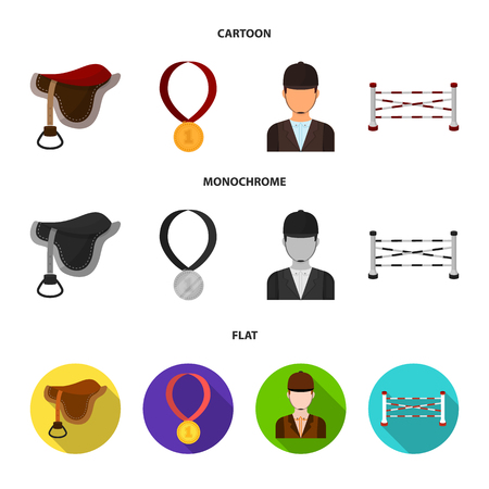 Saddle, medal, champion, winner .Hippodrome and horse set collection icons in cartoon,flat,monochrome style vector symbol stock illustration web. 向量圖像