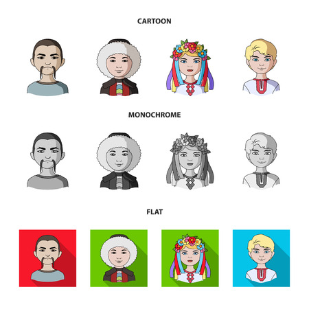 Chinese, ukrainian, russian, eskimo. Human race set collection icons in cartoon,flat,monochrome style vector symbol stock illustration web.