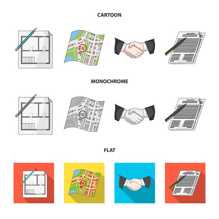 House plan, documents for signing, handshake, terrain plan. set collection icons in cartoon,flat,monochrome style vector symbol stock illustration web.