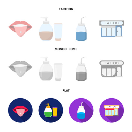 Piercing in tongue, gel, sallon. Tattoo set collection icons in cartoon,flat,monochrome style vector symbol stock illustration web.