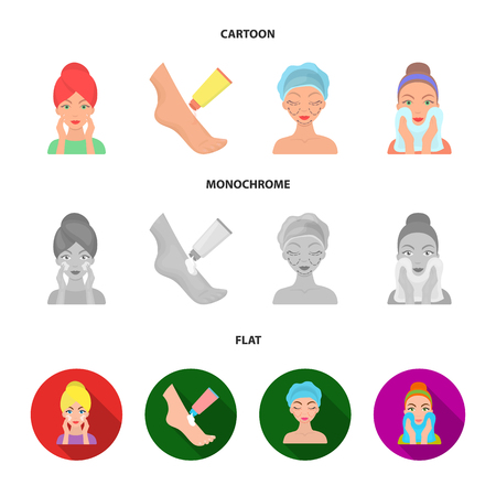 Face care, plastic surgery, face wiping, moisturizing the feet. Skin Care set collection icons in cartoon,flat,monochrome style vector symbol stock illustration web.