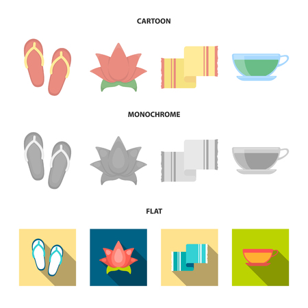 Flip-flops for the pool, lotus flower with petals, yellow towel with fringe, cup with tea, drink. Spa set collection icons in cartoon,flat,monochrome style vector symbol stock illustration web. Illustration