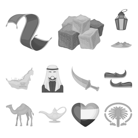 Country United Arab Emirates monochrome icons in set collection for design. Tourism and attraction vector symbol stock web illustration.