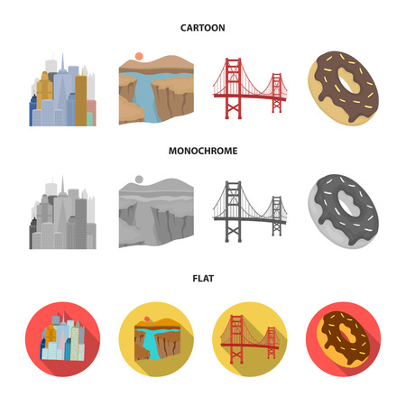 A megacity, a grand canyon, a golden gate bridge,donut with chocolate. The US country set collection icons in cartoon,flat,monochrome style vector symbol stock illustration web.
