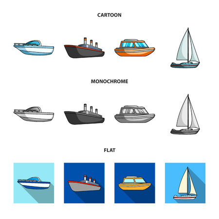 Protection boat, lifeboat, cargo steamer, sports yacht.Ships and water transport set collection icons in cartoon,flat,monochrome style vector symbol stock illustration web. Stock Photo