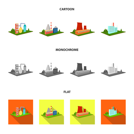 Processing factory,metallurgical plant. Factory and industry set collection icons in cartoon,flat,monochrome style isometric vector symbol stock illustration web. Stock Photo