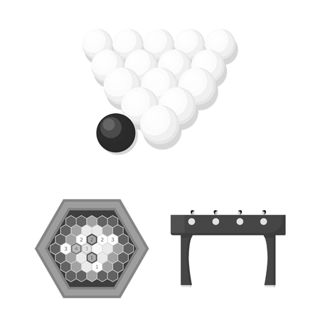 Board game monochrome icons in set collection for design. Game and entertainment vector symbol stock web illustration. Çizim