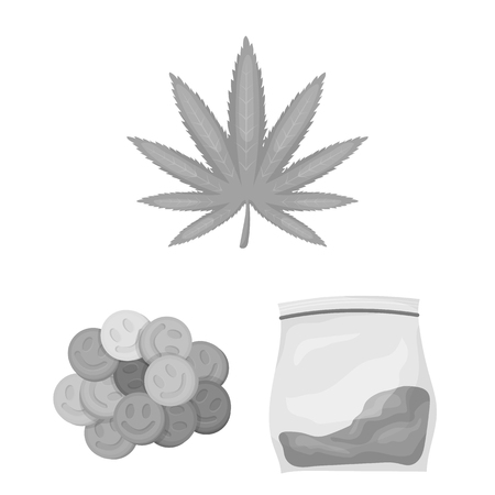 Drug addiction and attributes monochrome icons in set collection for design. Addict and Drug vector symbol stock web illustration.