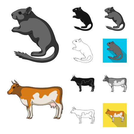 Realistic animals cartoon,black,flat,monochrome,outline icons in set collection for design. Wild and domestic animals vector symbol stock web illustration.