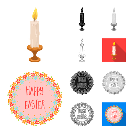 Easter is a Christian holiday cartoon,black,flat,monochrome,outline icons in set collection for design. Easter attributes vector symbol stock web illustration.