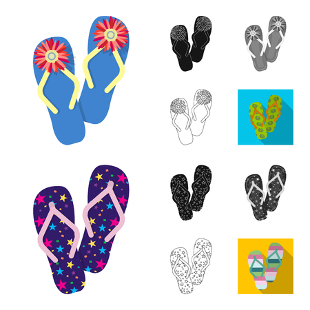 Flip-flops cartoon,black,flat,monochrome,outline icons in set collection for design. Beach shoes vector symbol stock web illustration. Ilustracja