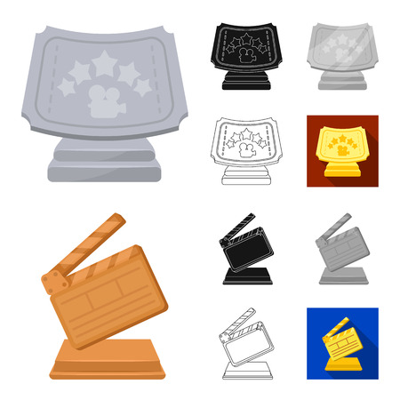 Film awards and prizes cartoon,black,flat,monochrome,outline icons in set collection for design. The World Film Academy vector symbol stock web illustration. Stock Illustratie