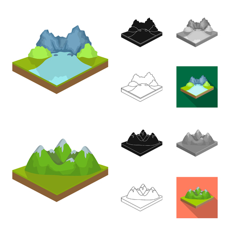 Mountains, massive cartoon,black,flat,monochrome,outline icons in set collection for design. The surface of the earth vector isometric symbol stock web illustration. Ilustração
