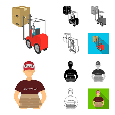 Logistics and delivery cartoon,black,flat,monochrome,outline icons in set collection for design. Transport and equipment isometric vector symbol stock web illustration. Ilustração