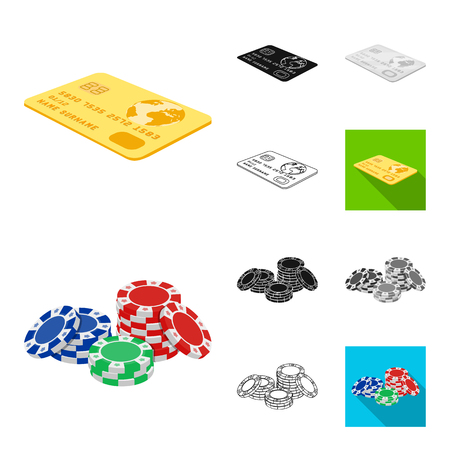 Casino and equipment cartoon,black,flat,monochrome,outline icons in set collection for design. Gambling and money vector symbol stock web illustration.