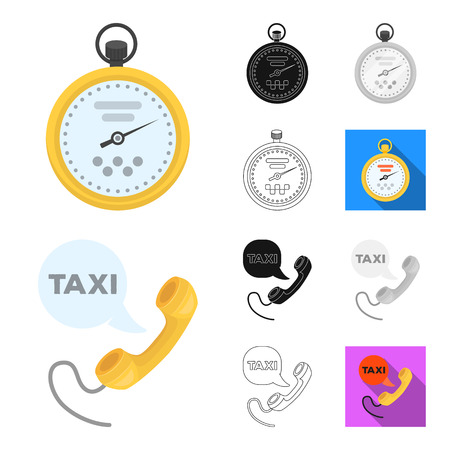 Taxi service cartoon,black,flat,monochrome,outline icons in set collection for design. Taxi driver and transport vector symbol stock web illustration.