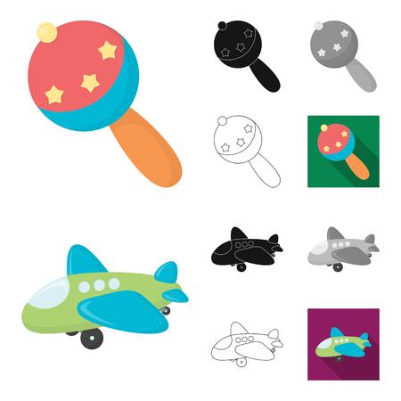 Kinderen speelgoed tekenfilm, zwart, plat, zwart-wit en pictogrammen in set collectie voor design. Spel en snuisterij symbool voorraad web vectorillustratie.