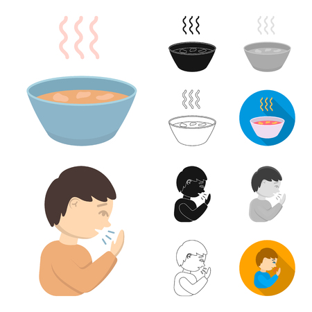 The sick man cartoon,black,flat,monochrome,outline icons in set collection for design.Illness and treatment vector symbol stock web illustration. Ilustracja